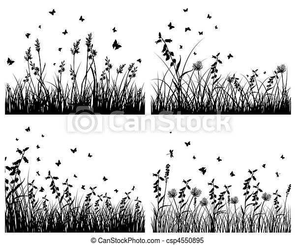 set of grass silhouettes - csp4550895