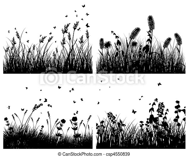 set of grass silhouettes - csp4550839
