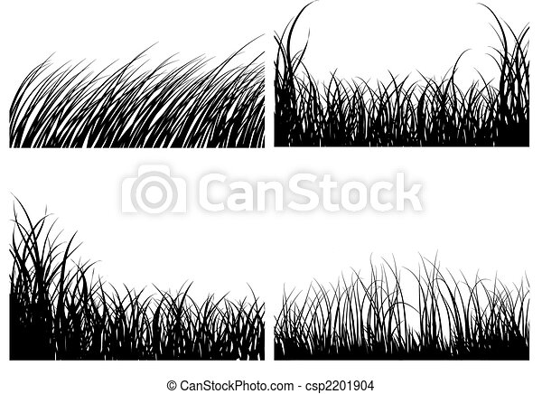 set of grass silhouettes - csp2201904