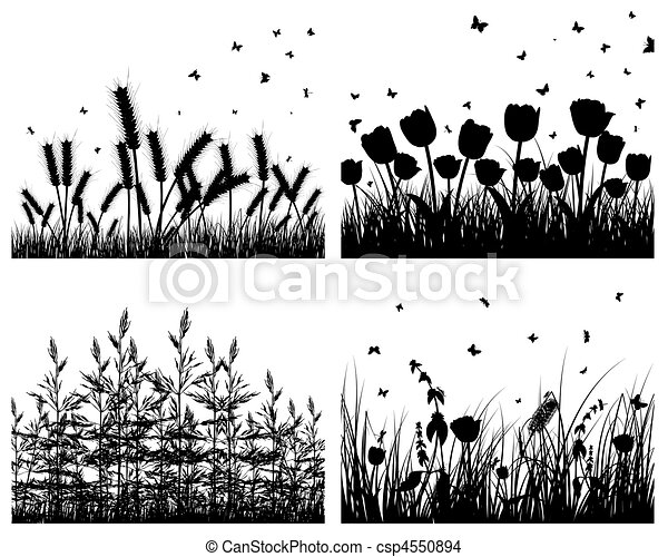 set of grass silhouettes - csp4550894