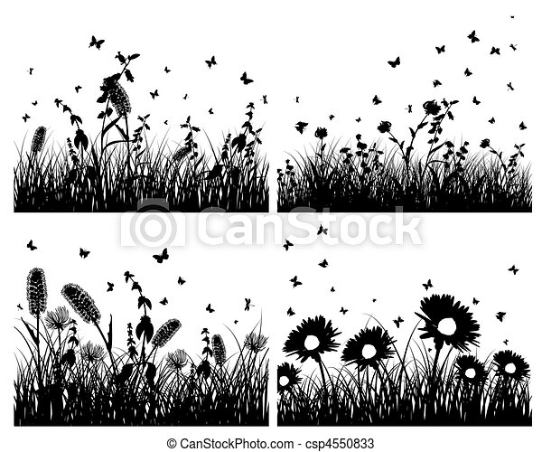 set of grass silhouettes - csp4550833