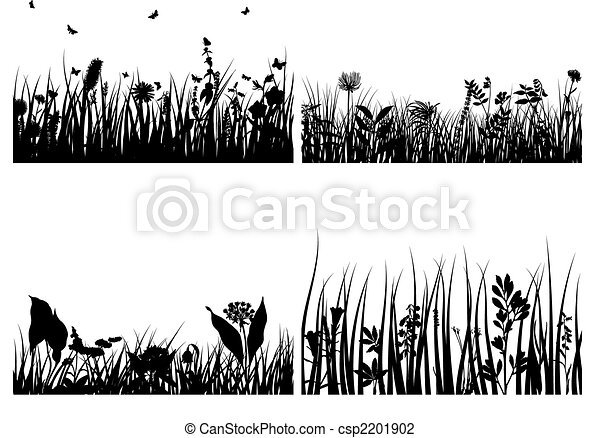 set of grass silhouettes - csp2201902