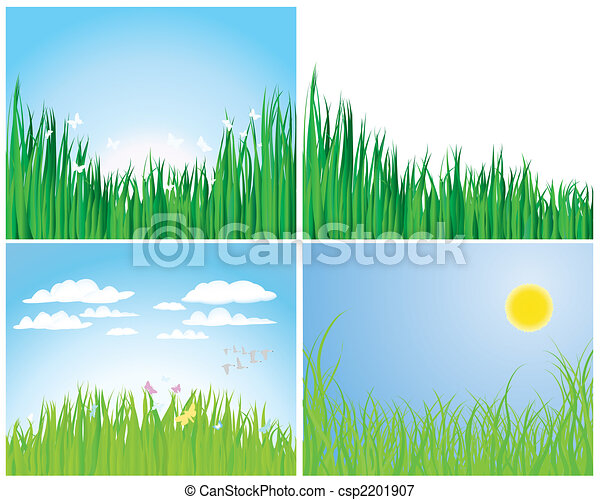 set of grass silhouettes - csp2201907