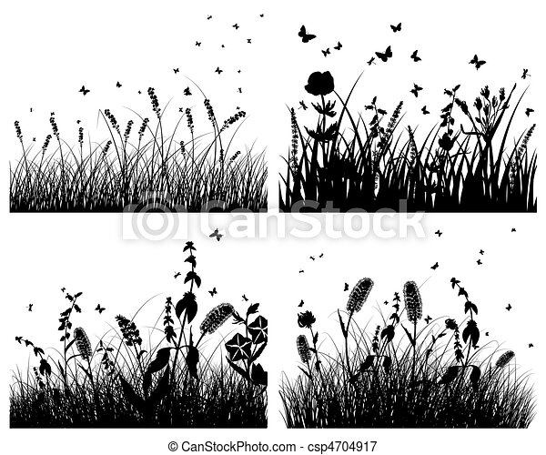 set of grass silhouettes - csp4704917