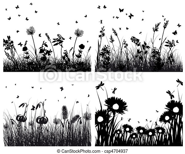 set of grass silhouettes - csp4704937