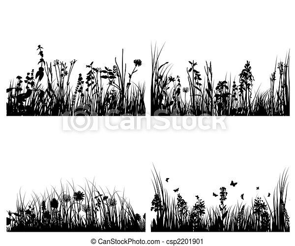 set of grass silhouettes - csp2201901
