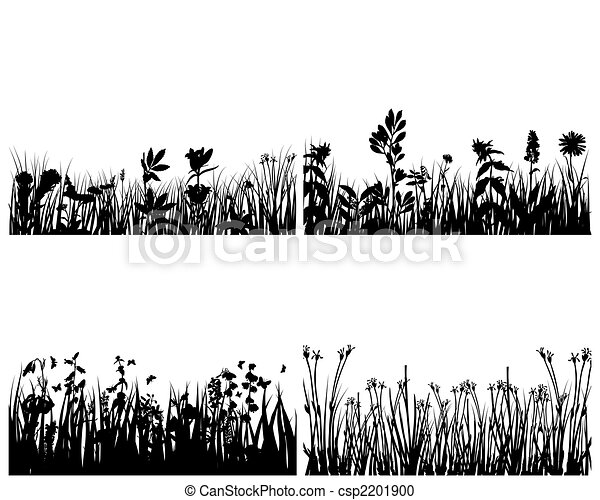 set of grass silhouettes - csp2201900