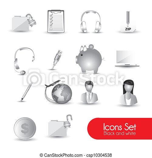 set of gray icons  - csp10304538