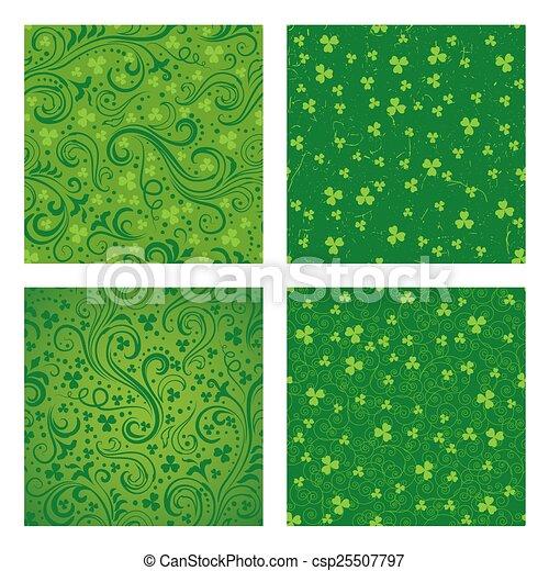 Set of green clover patterns - csp25507797