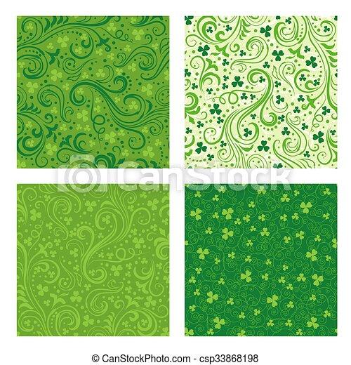 Set of green clover patterns - csp33868198