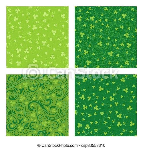 Set of green clover patterns - csp33553810