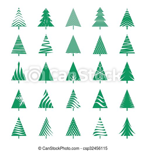 Christmas Tree Vector.Set Of Green Geometric Christmas Tree Vector Illustrations