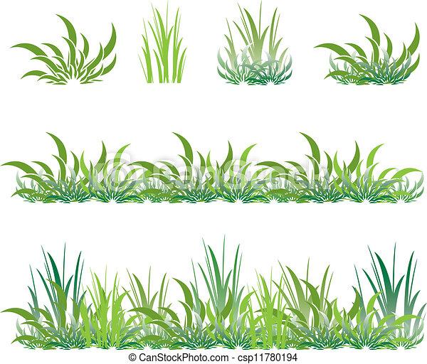 set of green grass - csp11780194