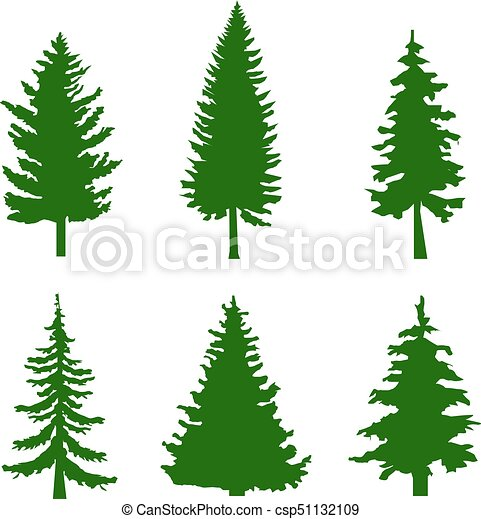 set of green silhouettes of pine trees on white background vector rh canstockphoto com tree vector plan tree vector png