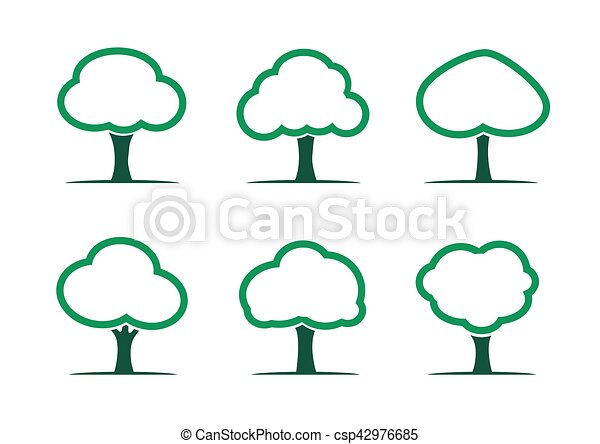 Set of Green Trees. Vector Illustration. - csp42976685