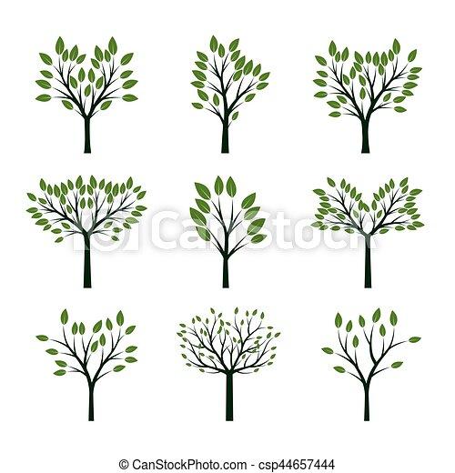 Set of Green Trees. Vector Illustration. - csp44657444