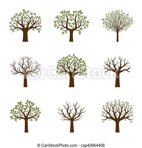 Set of Green Trees. Vector Illustration. - csp42664406