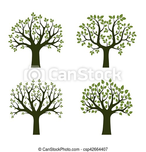 Set of Green Trees. Vector Illustration. - csp42664407
