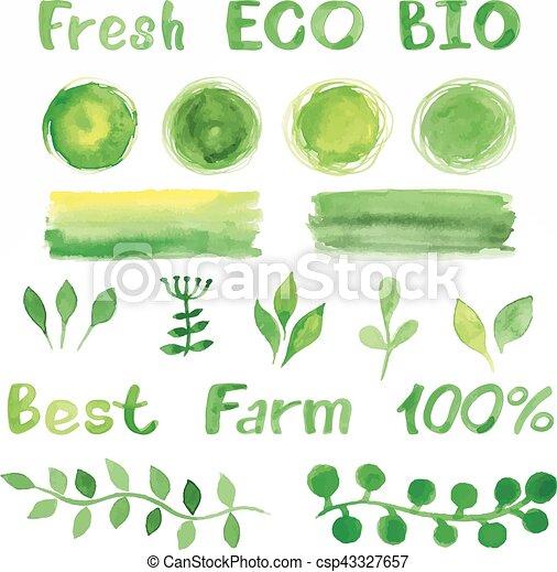 Set Of Green Watercolor Organic Bio Backgrounds Spots Font Logo
