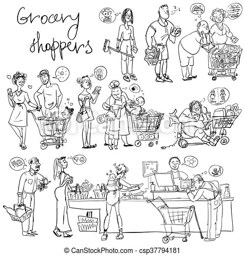 Set of grocery shoppers, hand sketching - csp37794181