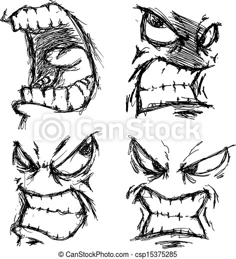 Set of grunge angry face csp15375285