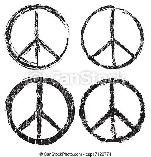 Set of grunge peace symbol - csp17122774