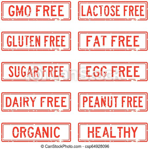 Set of grunge red square rubber stamp about food allergen and safety - csp64928096