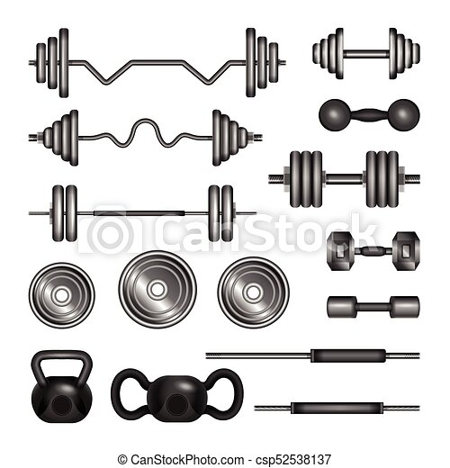 Set Of Gym Equipment Modern Vector Realistic Isolated Clip Art Isolated On White Background 3d Barbells Power Lifter