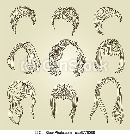 Set of hair styling for woman - csp6776088