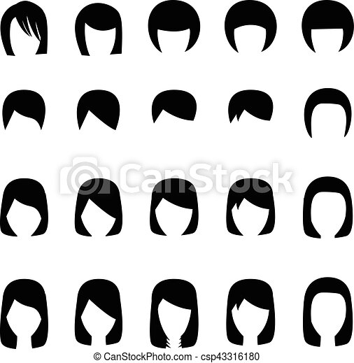 Set of hairstyle silhouette, vector - csp43316180
