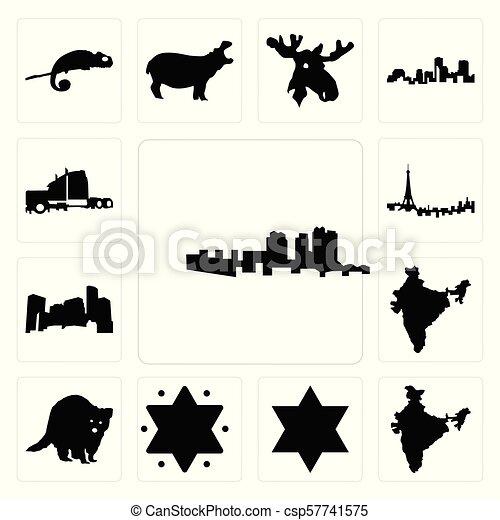 Set of haiti, india, star david, raccoon, minnesota, paris skyline,