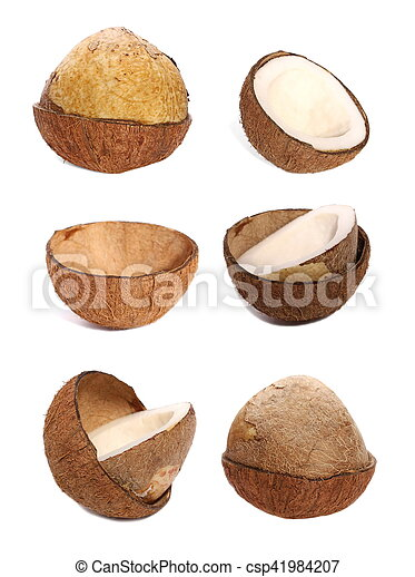 set of half coconut isolated on white - csp41984207