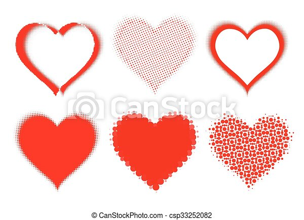 set of halftone hearts on white. vector - csp33252082