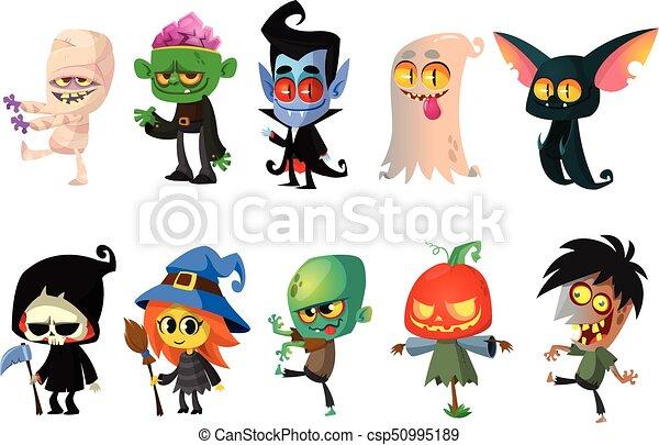 set of halloween characters vector mummy  zombie  vampire halloween zombie clipart Scary Zombie Halloween Clip Art