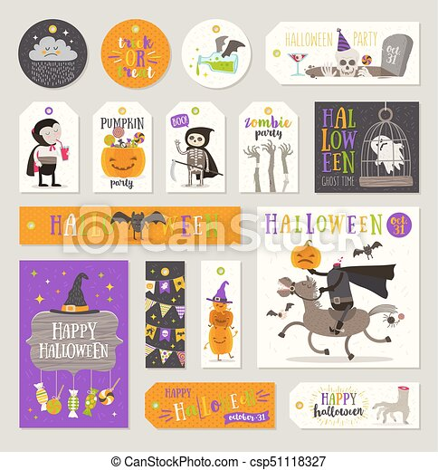 Set Of Halloween Gift Tags And Labels With Cartoon Characters Greetings Holiday Sign And Symbol Vector Illustration