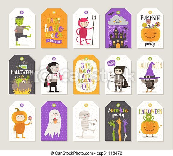 Halloween Gift Tags.Set Of Halloween Gift Tags And Labels