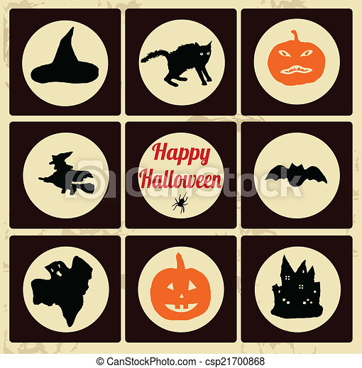 Set of Halloween icons - csp21700868
