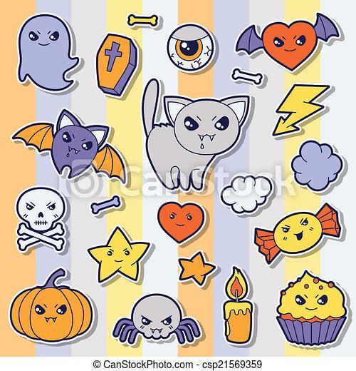 Set of halloween kawaii cute sticker doodles and objects. - csp21569359