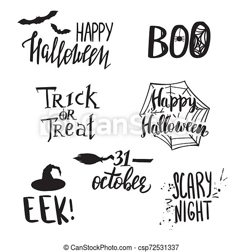 Halloween Phrases.Set Of Halloween Phrases And Symbols Hand Lettering Party Elements Canstock