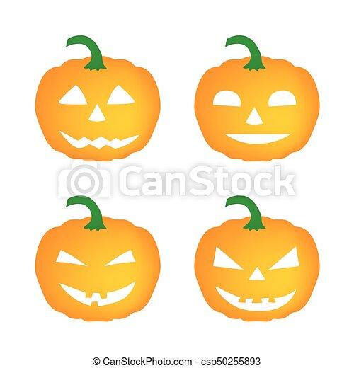 set of halloween pumpkins - csp50255893