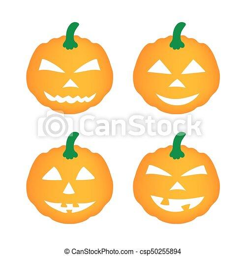 set of halloween pumpkins - csp50255894