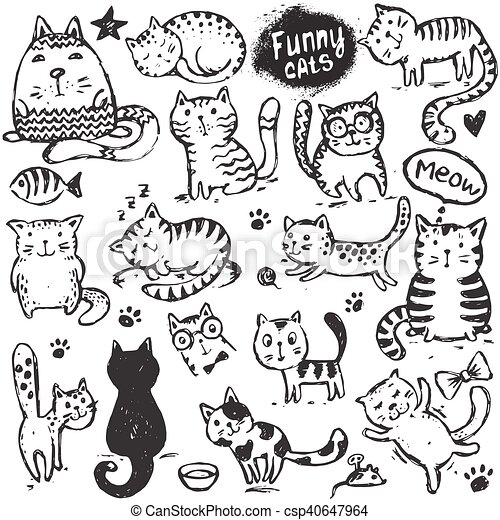 Set Of Hand Draw Funny Cats In Sketch Style Black And White Vector Illustration