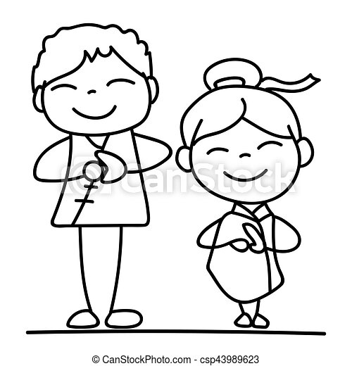 set of hand drawing cartoon character people happy chinese vector rh canstockphoto com