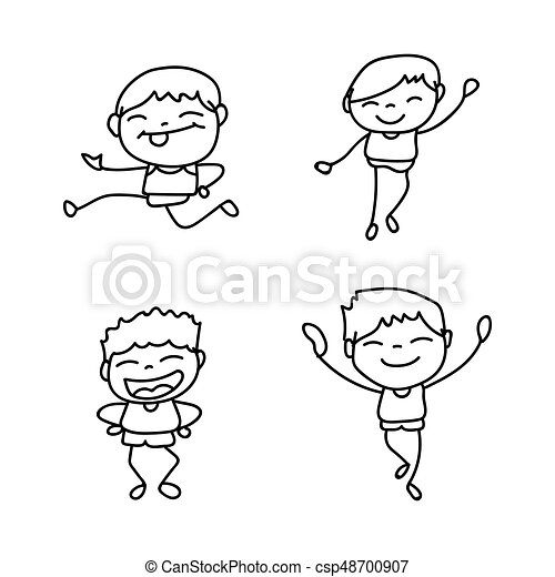 set of hand drawing cute boys line art happy people happiness