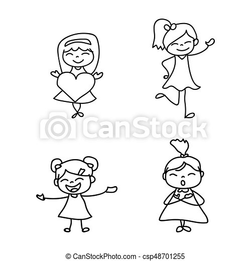 set of hand drawing cute girls line art happy people happiness
