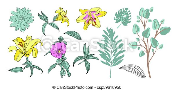 set of hand drawing flowers, vector illustration - csp59618950