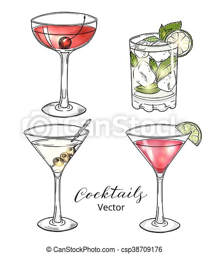 Set Of Hand Drawn Alcoholic Cocktails Isolated On White Manhattan Martini Cosmopolitan Mojito Eps 10 Vector Illustration Canstock