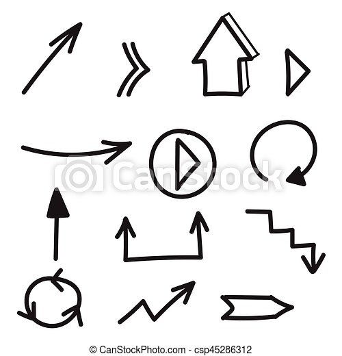 set of hand drawn arrows set of vector hand drawn arrows vector rh canstockphoto com arrow vector clipart arrow vector free download