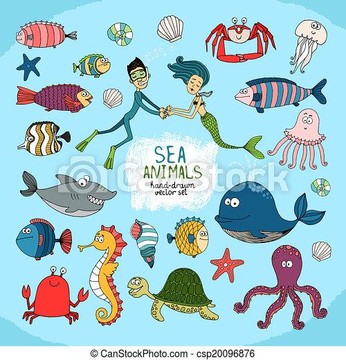 Set of hand-drawn cartoon sea life - csp20096876