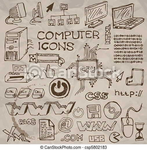 Set of hand-drawn computer icons (vector) - csp5802183